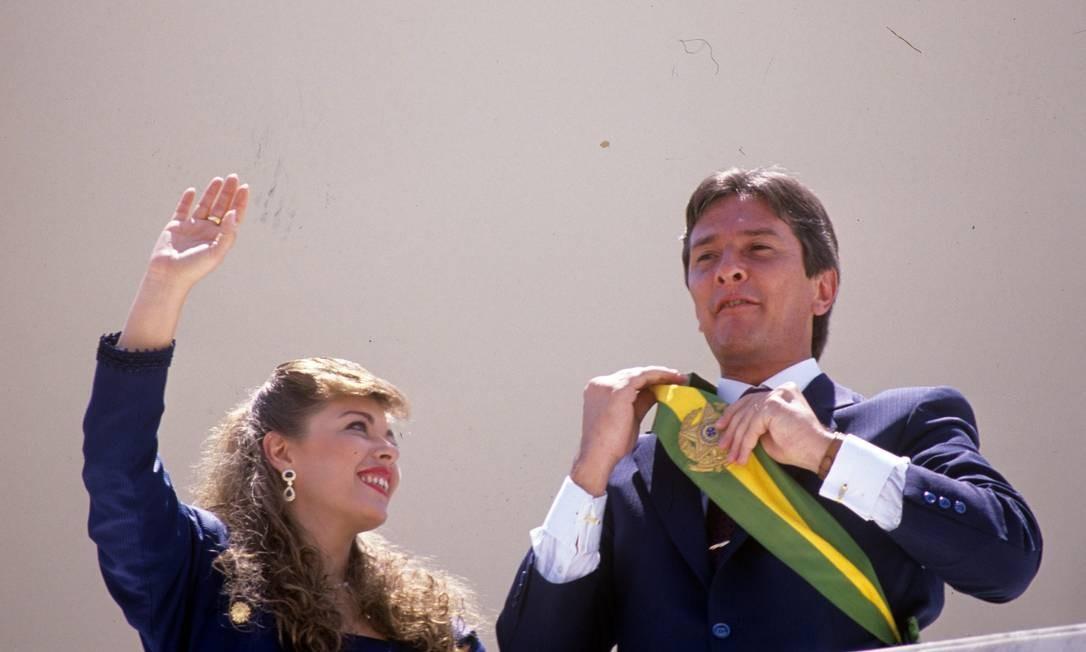 Fernando Collor de Mello foi o primeiro presidente eleito após a democratização do Brasil 15/03/1990 Foto: Marcelo Carnaval / Agência O Globo - 15/03/1990