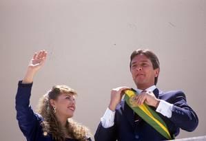 Fernando Collor de Mello foi o primeiro presidente eleito após a democratização do Brasil 15/03/1990 Foto: Marcelo Carnaval / Agência O Globo
