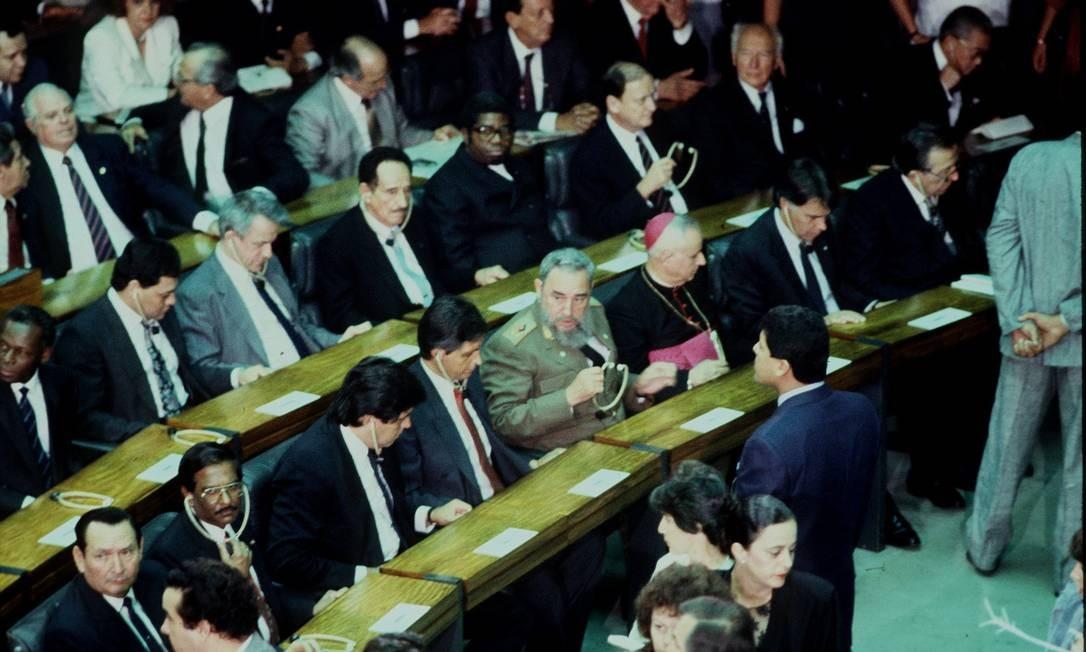 Fidel Castro participou da cerimônia de posse de Collor 15/03/1990 Foto: Leo Aversa/ Agência O Globo