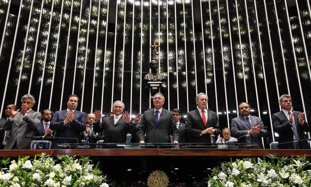 Após o impeachment de Dilma, Michel Temer toma posse na Presidência em cerimônia no Senado 31/08/2016 Foto: Beto Barata / Divulgação/ PR