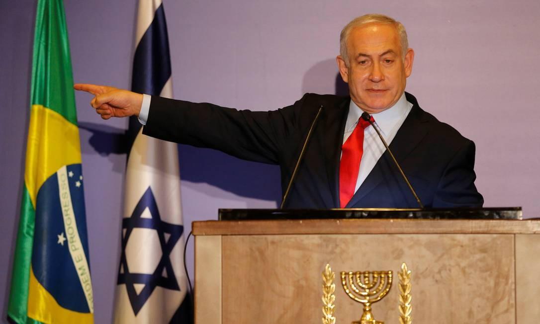 Primeiro-ministro de Israel, Benjamin Netanyahu, participa de entrevista coletiva no Rio de Janeiro, durante visita para possa de presidente eleito, Jair Bolsonaro Foto: HANDOUT / REUTERS