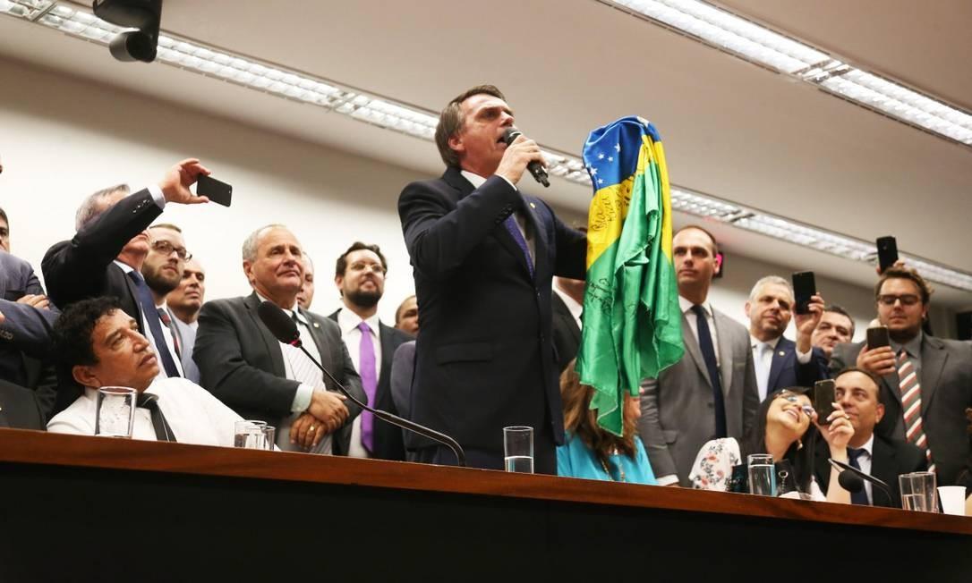 Bolsonaro se filiou ao PSL em março de 2018 para disputar a eleição presidencial. Antes, o parlamentar já havia passado pelo PSC, PP, PFL, PTB, PPB, PPR e PDC Foto: Givaldo Barbosa / Agência O Globo