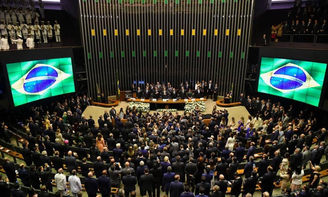 Sessão solene de posse no auditório da Câmara dos Deputados Foto: NELSON ALMEIDA / AFP