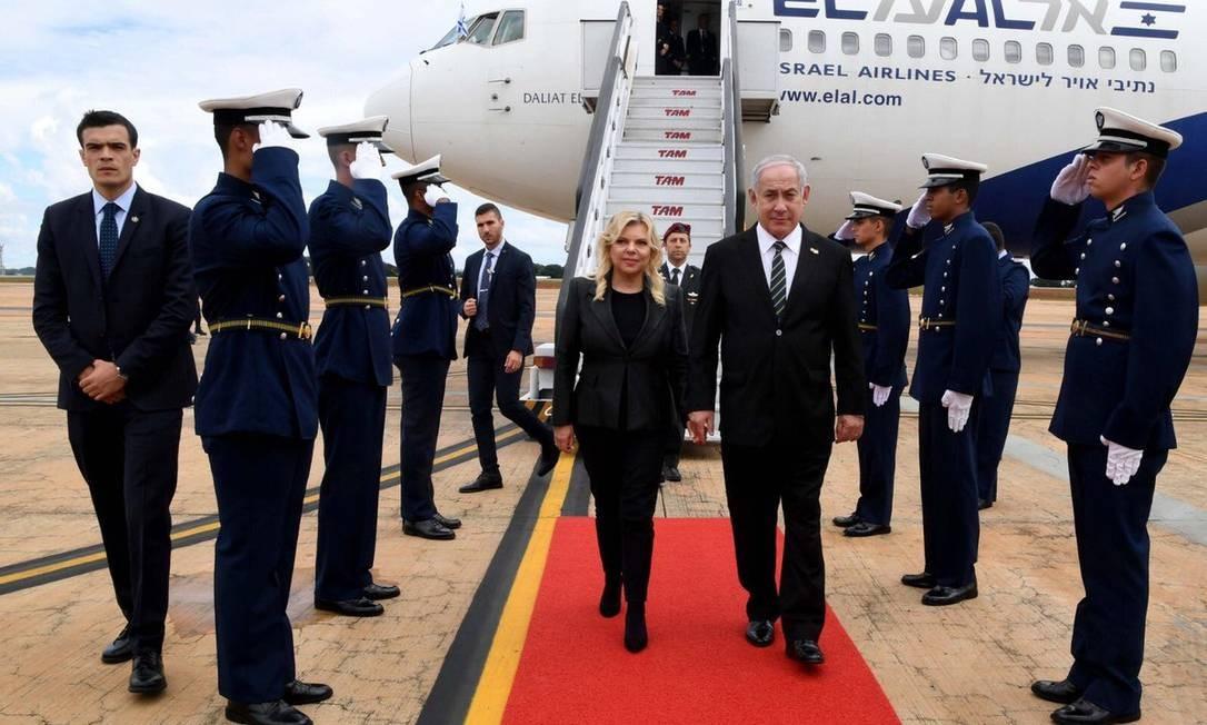 O primeiro-ministro de Israel, Benjamin Netanyahu, desembarca em Brasília Foto: Reprodução/Twitter