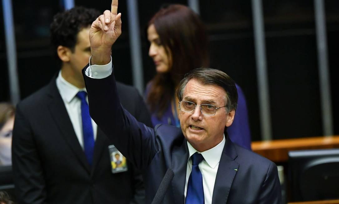 O presidente Jair Bolsonaro discursa ao tomar posse no Congresso Foto: Nelson Almeida / AFP