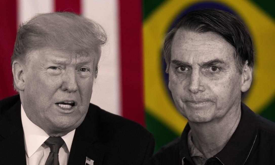 O presidente americano, Donald Trump, e o presidente brasileiro, Jair Bolsonaro Foto: Agência O Globo