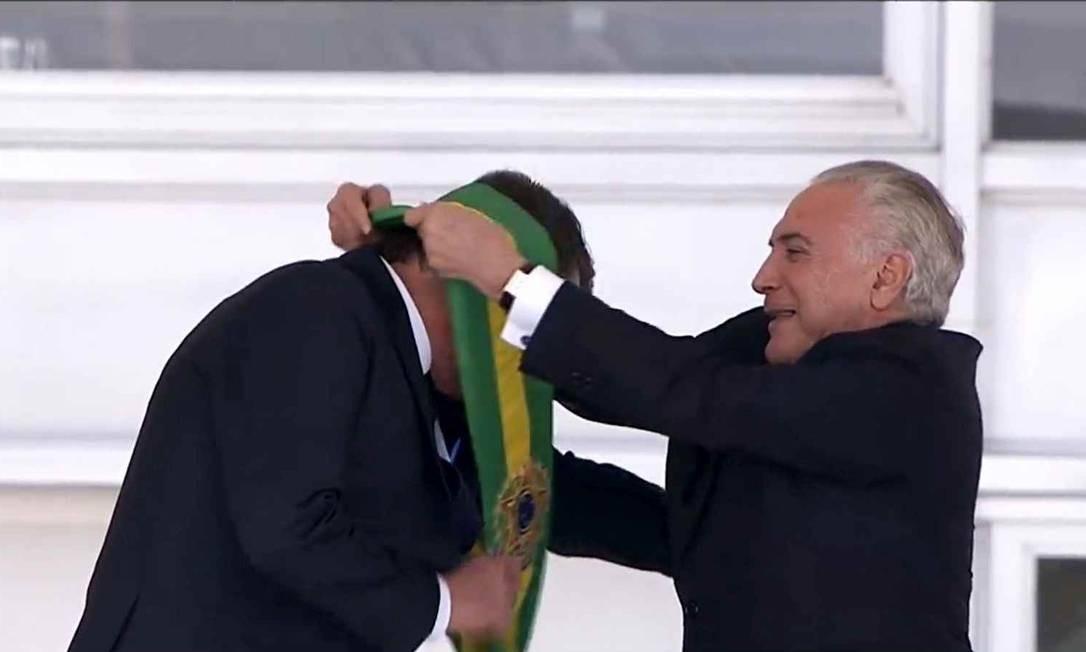 Michel Temer passa a faixa presidencial para Jair Bolsonaro Foto: Agência Brasil