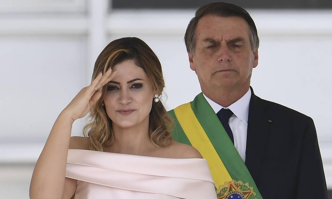 Michelle Bolsonaro discursa em libras antes do marido no parlatório Foto: EVARISTO SA / AFP