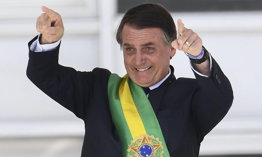Presidente Jair Bolsonaro no Parlatório do Palácio do Planalto Foto: EVARISTO SA / AFP