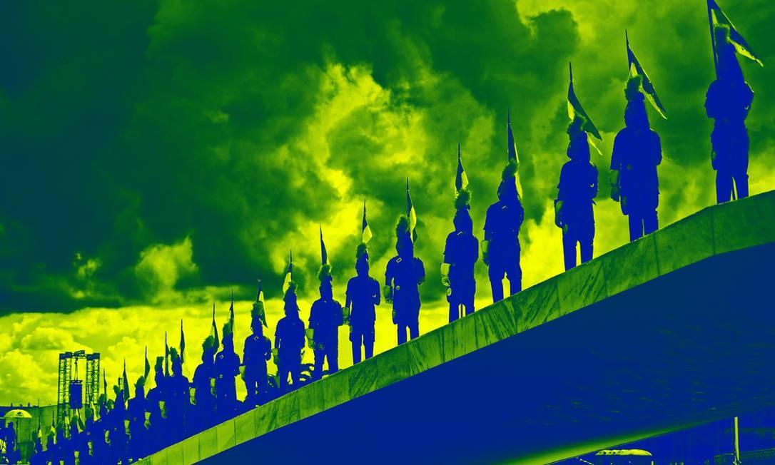 Guardas fazem cerimônia em Brasília para a posse de Bolsonaro Foto: CARL DE SOUZA / AFP