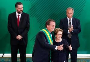 O presidente Jair Bolsonaro e a ministra da Agricultura, Tereza Cristina Foto: Isac Nóbrega/Presidência
