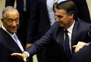 O presidente Jair Bolsonaro e o presidente de Portugal, Marcelo Rebelo de Sousa Foto: Adriano Machado / Reuters