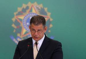 O ministro Gustavo Bebianno durante discurso na cerimônia de transmissão de posse Foto: Pablo Jacob / Agência O Globo