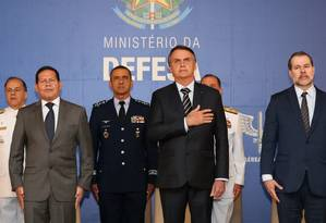 O presidente Jair Bolsonaro participa da posse do ministro da Defesa Foto: Marcos Corrêa/Presidência