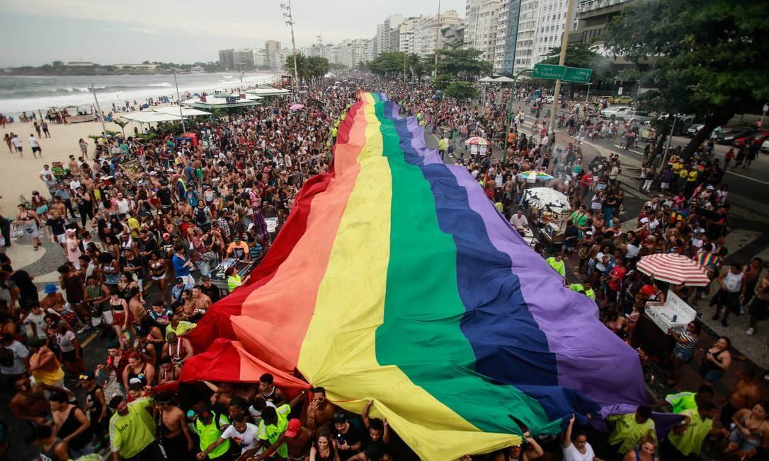 Parada do Orgulho LGBT em Copacabana em 2018 Foto: Brenno Carvalho / Agência O Globo