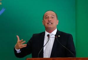 O ministro da Casa Civil, Onyx Lorenzoni, durante cerimônia de transmissão de cargo Foto: Pablo Jacob/Agência O Globo