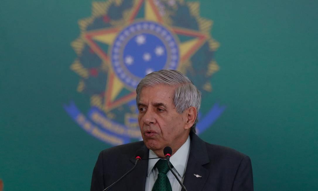 O ministro do Gabinete de Segurança Institucional, Augusto Heleno, durante cerimônia no Planalto Foto: Pablo Jacob / Agência O Globo