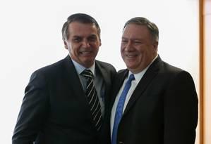 O presidente Jair Bolsonaro e o secretário de Estado americano, Mike Pompeo Foto: Marcos Correa/Presidência