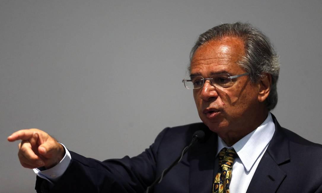 O ministro da Economia, Paulo Guedes, participou da cerimônia de transmissão do cargo nesta quarta-feira Foto: Jorge William / Agência O Globo