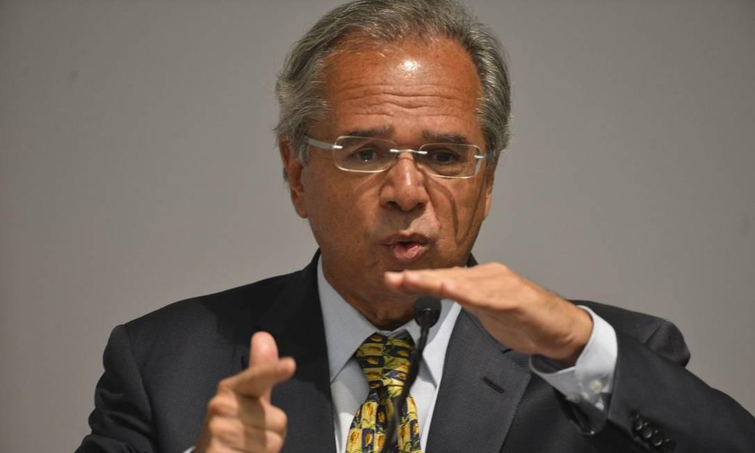 O ministro da Economia, Paulo Guedes, discursa na solenidade de transmissão de cargo Foto: Valter Campanato/Agência Brasil