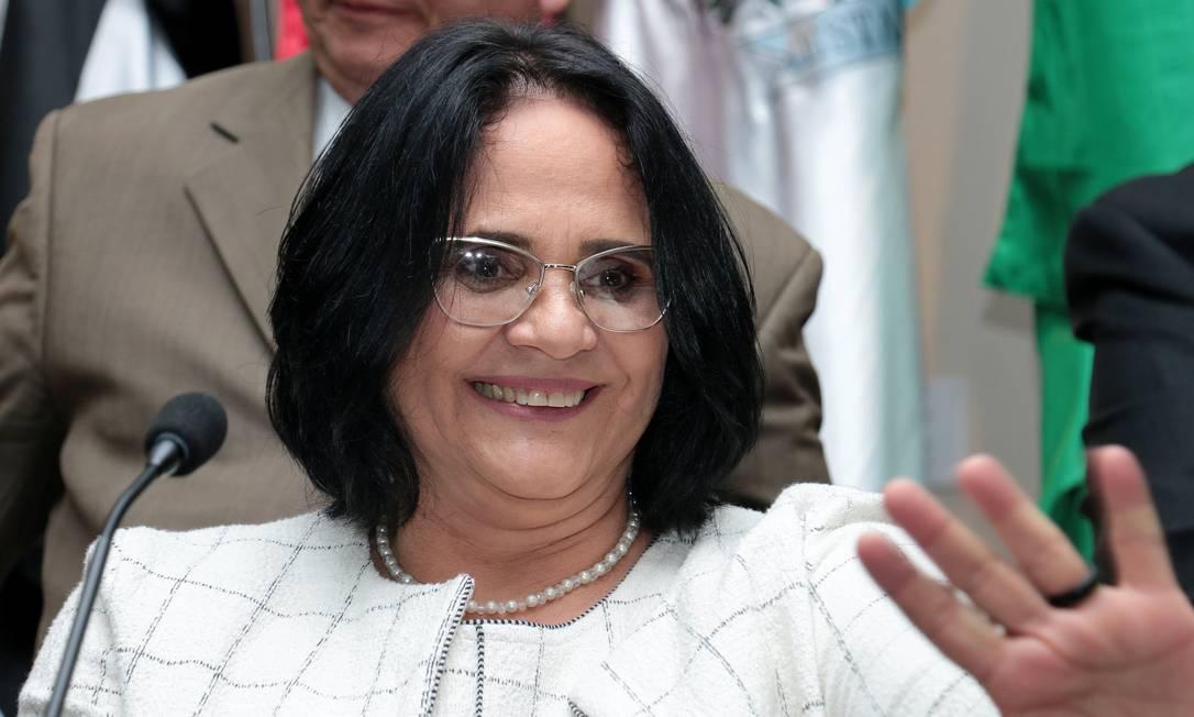 A ministra dos Direitos Humanos, Damares Alves, durante cerimônia de transmissão de cargo Foto: Luiz Alves/Divulgação/02-01-2019