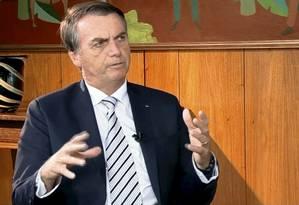 O presidente Jair Bolsonaro concede entrevista ao SBT Brasil Foto: Reprodução