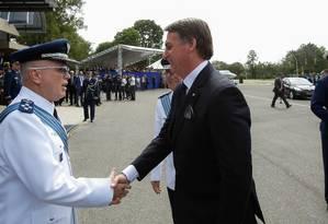 O presidente da República, Jair Bolsonaro, durante solenidade no Comando da Aeronáutica Foto: Agência O Globo