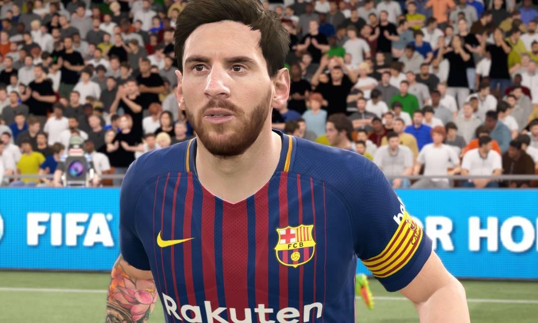 """Lionel Messi e """"sua"""" tattoo em imagem do jogo """"Fifa 2K18"""" Foto: Reprodução"""