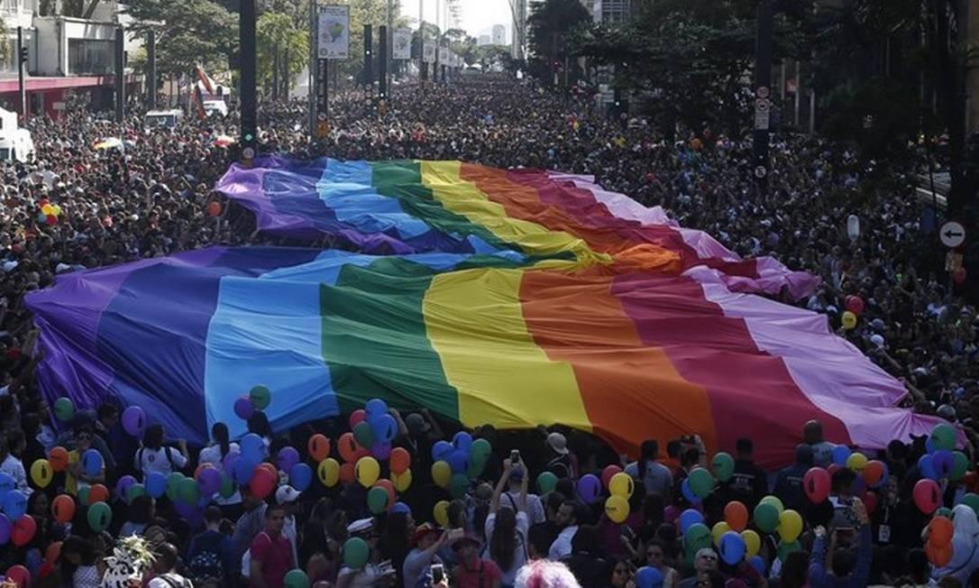 Parada do Orgulho LGBT de São Paulo, em 2017 Foto: Marcos Alves / Agência O Globo