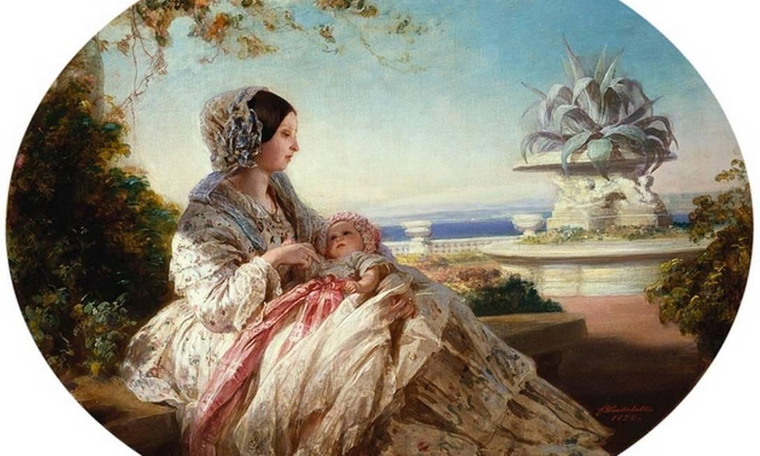 Na obra de Franz Xaver Winterhalter, a rainha Victoria e o príncipe Arthur. O bebê usa uma roupa cor-de-rosa Foto: Reprodução