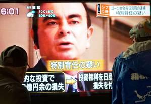 Ex-executivo da Nissan, Carlos Ghosn está preso no Japão desde 19 de novembro Foto: Kazuhiro Nogi / AFP