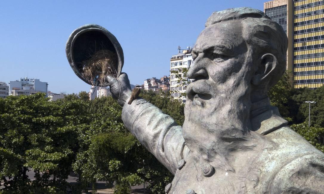 No monumento em homenagem à Batalha do Riachuelo, na Praça Paris, há um ninho de bem-te-vi no quepe da imagem do Almirante Barroso. Custódio Coimbra / Agência O Globo