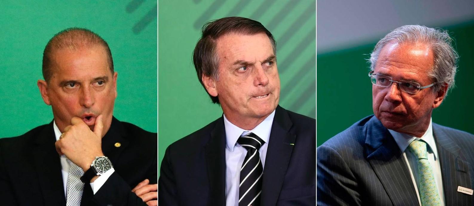 Onyx Lorenzoni (à esquerda), Jair Bolsonaro (ao centro) e Paulo Guedes (à direita) Foto: Editoria de Arte / Agência O Globo