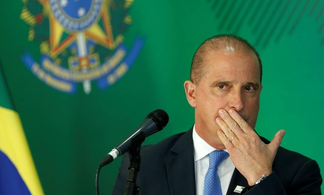 Onyx Lorenzoni, ministro-chefe da Casa Civil, durante entrevista coletiva Foto: ADRIANO MACHADO / REUTERS