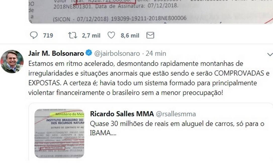 Bolsonaro apagou mensagem em que afirmava haver 'montanhas de irregularidades' no governo federal Foto: Reprodução/ Twitter