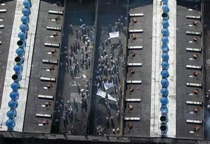 Presos do Centro de Detenção Provisória (CDP) Dr. Félix Nobre de Campos, em Taubaté (SP), durante rebelião em agosto de 2018 Foto: Nilton Cardin / Parceiro / Agência O Globo / Agência O Globo