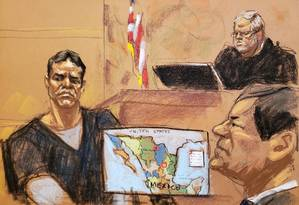 Vicente Zambada Niebla testemunha durante julgamento de Joaquín El Chapo Guzmán Foto: JANE ROSENBERG / REUTERS