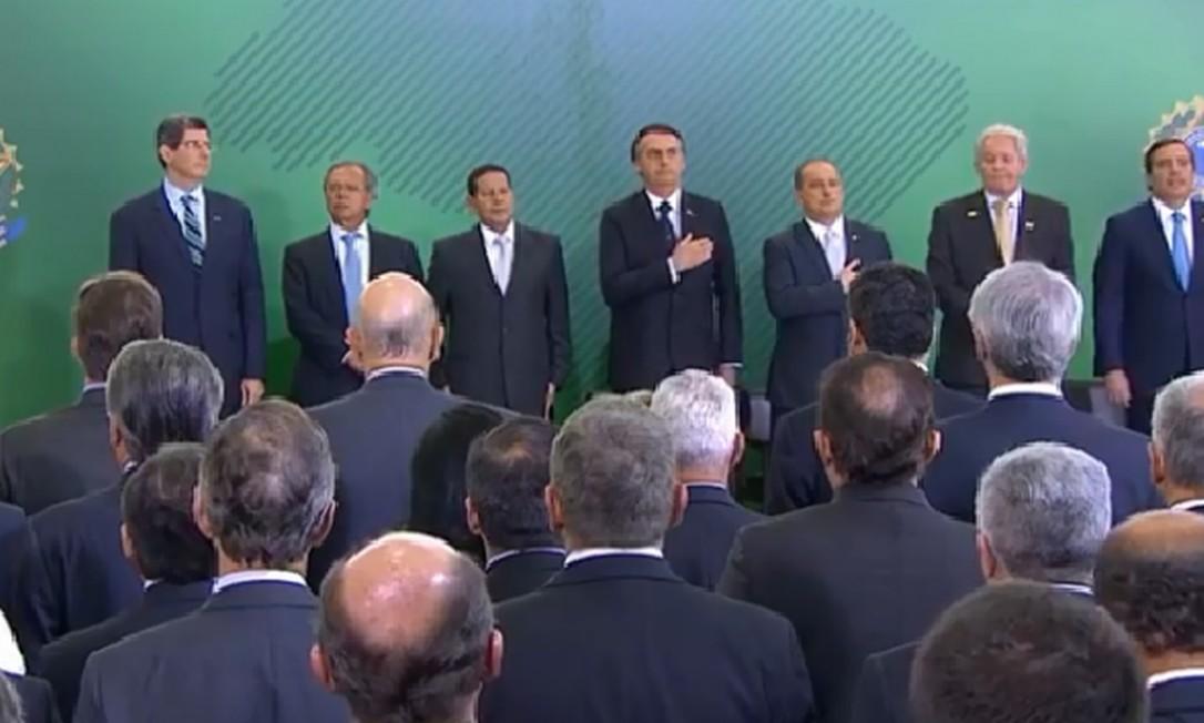 Cerimônia de posse dos novos presidentes de bancos públicos Foto: Reprodução/TV