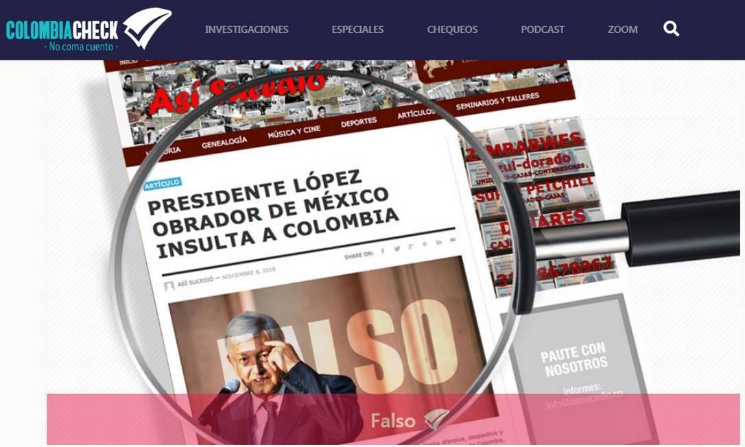 Em novembro, os fact-checkers do ColombiaCheck desfizeram uma grande confusão Foto: Reprodução