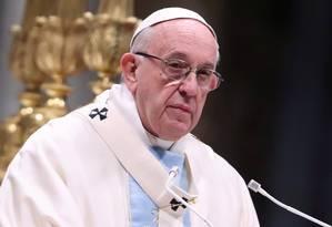Papa Francisco durante cerimônia religiosa no Vaticano em 01 de janeiro de 2019 Foto: Tony Gentile / REUTERS