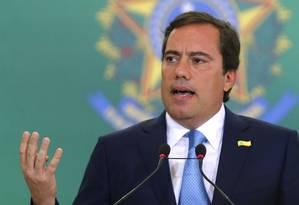 O presidente da Caixa Econômica, Pedro Guimarães, durante discurso na cerimônia de posse Foto: Jorge William / Agência O Globo