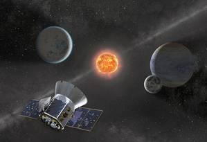 Ilustração mostra o observatório espacial Tess e alguns exemplos de exoplanetas que os cientistas pretendem encontrar com o equipamento, lançado em abril do ano passado Foto: Divulgação/Nasa