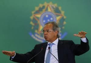 O ministro da Economia, Paulo Guedes, durante discursso em cerimônia no Palácio do Planalto Foto: Jorge William / Agência O Globo