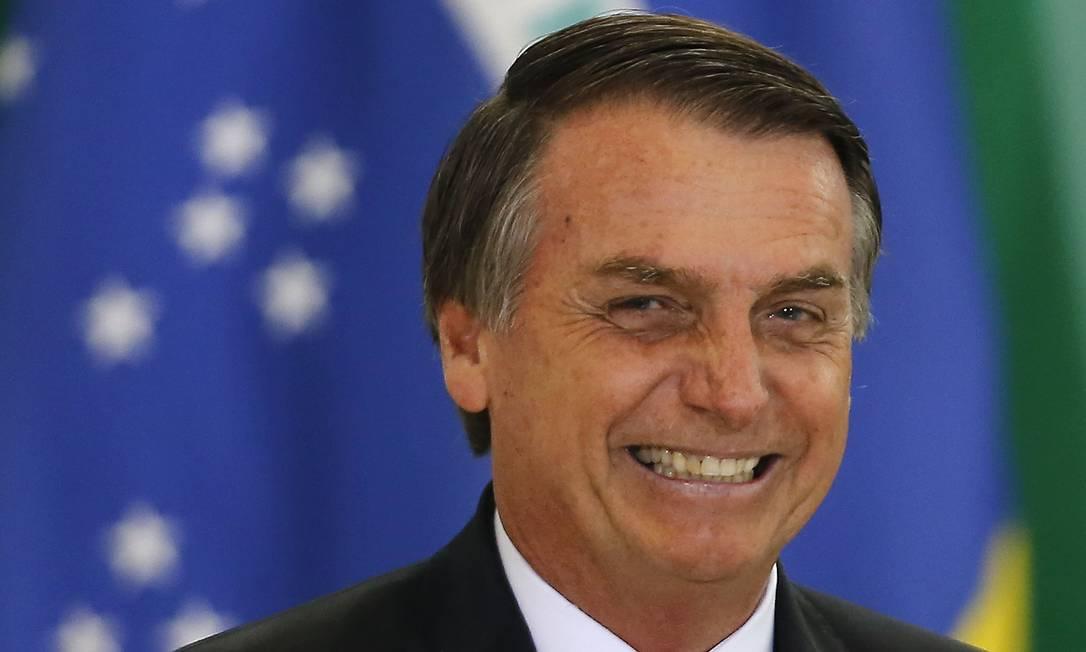 O presidente Jair Bolsonaro participa de cerimônia no Palácio do Planalto Foto: Jorge William/Agência O Globo