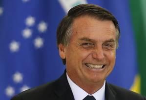 O presidente Jair Bolsonaro durante cerimônia no Palácio do Planalto Foto: Jorge William/Agência O Globo