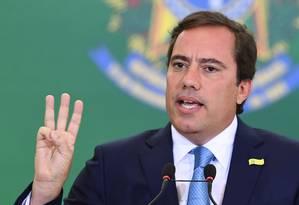 O novo presidente da Caixa, Pedro Guimarães, durante cerimônia de transmissão de cargo Foto: Evaristo Sá/AFP
