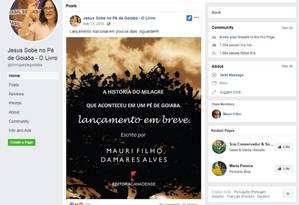 Uma página do Facebook criada para divulgar o livro é ilustrada com a foto de Damares Alves. Um post em maio anuncia o lançamento nacional da obra, escrita em parceria com Mauri Filho Foto: Reprodução