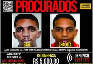 Suspeitos são procurados pela polícia Foto: Divulgação