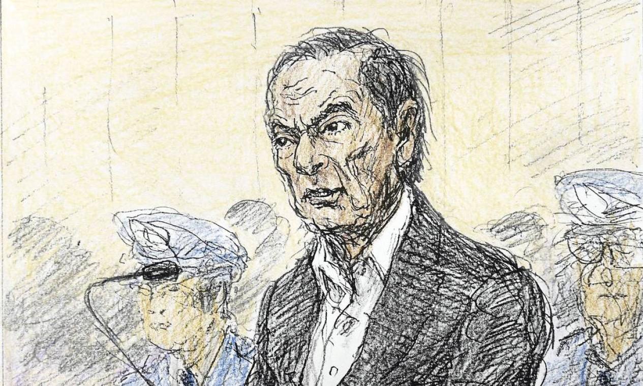 Esboço feito por Nobutoshi Katsuyama mostra o ex-executivo da Nissan, Carlos Ghosn, durante audiência em janeiro para ouvir o motivo de sua prolongada detenção, no Tribunal Distrital de Tóquio Foto: KYODO / REUTERS