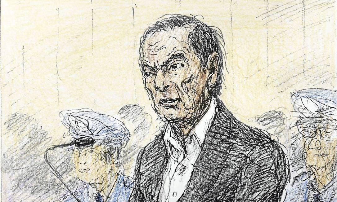 Um esboço feito por Nobutoshi Katsuyama mostra o ex-presidente da Nissan, Carlos Ghosn, durante uma audiência aberta para ouvir o motivo de sua prolongada detenção, no Tribunal Distrital de Tóquio Foto: KYODO / REUTERS